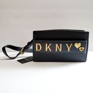NWT DKNY Black Belt Bag Fanny Pack Logo Hearts